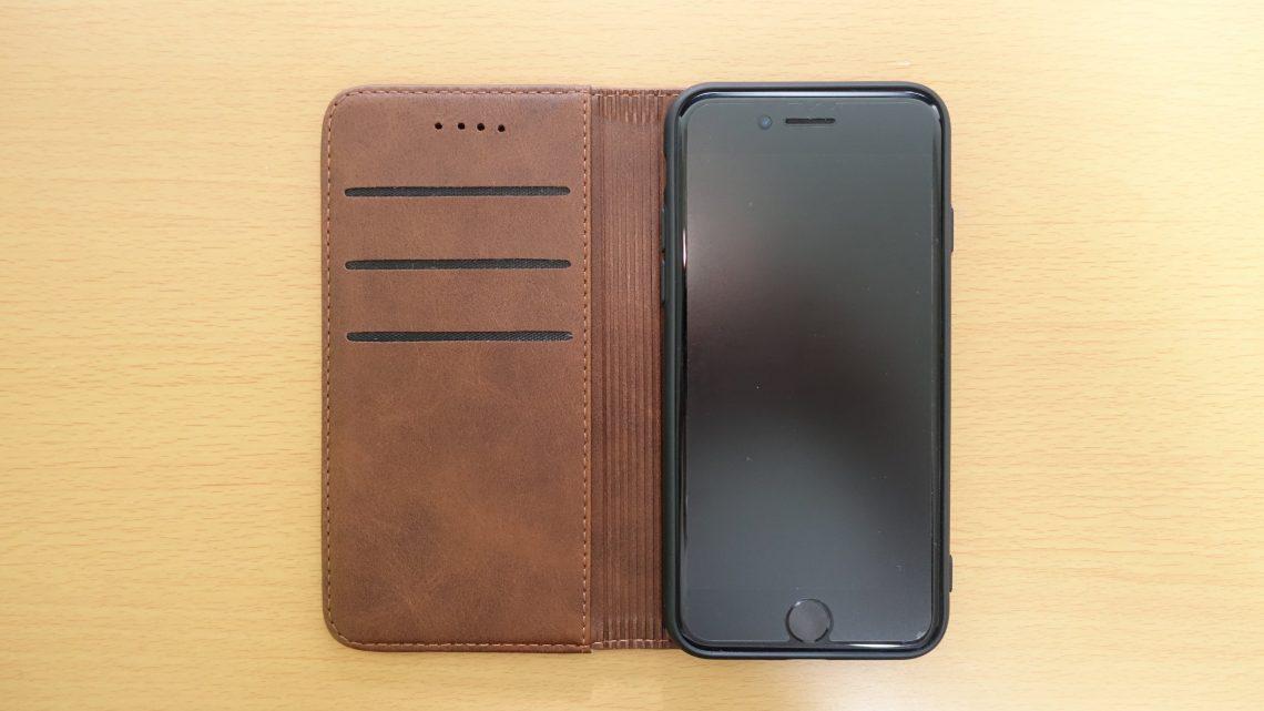 【iPhone 7】TPU素材のレザー風手帳型ケースがお洒落で機能的でコスパ良い